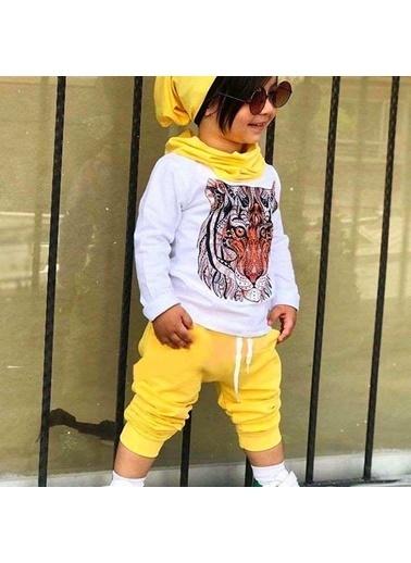 Quzucuk Kids Erkek Çocuk Kaplan Figürlü Sarı Takım Renkli